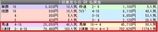 1東京5配当